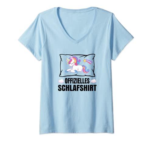Damen Offizielles Schlaf Einhorn Schlafanzug Unicorn Schlafen T-Shirt mit V-Ausschnitt