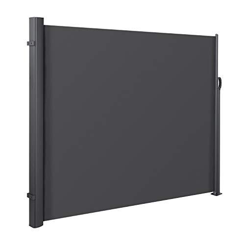 MVPOWER Seitenmarkise Alu 300x160 cm (LxH)-280 g/m² Ausziehbar Sonnenschutz Sichtschutz für...