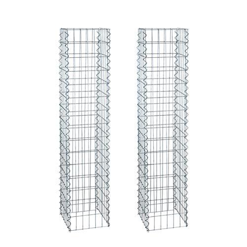 ESTEXO Gabionen-Säulen im 2er Set, 4-Eck 30x30 cm, 150 cm Höhe, inklusive Spiralen