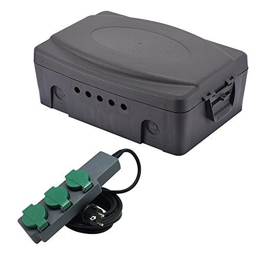 Electraline 300175 Outdoor Waterproof IP54 Schutzbox, mit Steckdosenleiste 3-Fach, Schwarz