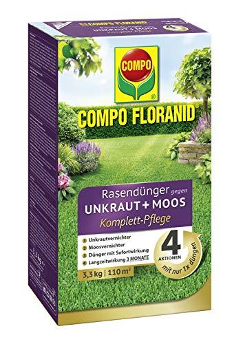 COMPO FLORANID Rasendünger gegen Unkraut+Moos Komplett-Pflege, 3 Monate Langzeitwirkung,...