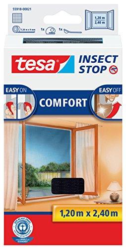 tesa Insect Stop COMFORT Fliegengitter für bodentiefe Fenster - Insektenschutz selbstklebend -...