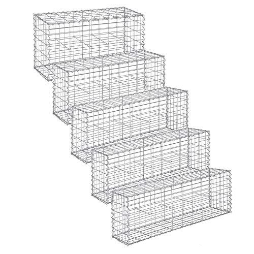 LARMNEE Gabionen 100 x 50 x 30 cm, 5er Set, mit Spiralverbindungen und Distanzhalter, Steinkorb,...