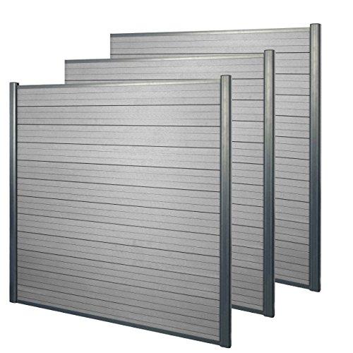 Mendler WPC-Sichtschutz Sarthe, Windschutz Zaun, Alu-Pfosten - 3er Set, 5,6m grau