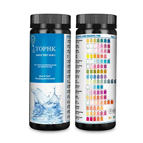 TOPHK Wassertester Trinkwasser, Upgrade 16 IN 1 Wasserteststreifen Trinkwasser mit 100 Stück...